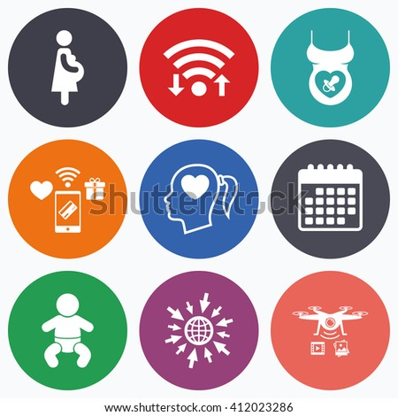 Wifi, mobile payments and drones icons. Maternity icons. Baby infant, pregnancy and dummy signs. Child pacifier symbols. Head with heart. Calendar symbol. - stock vector
