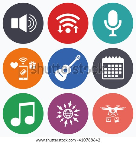 Wifi, mobile payments and drones icons. Musical elements icons. Microphone and Sound speaker symbols. Music note and acoustic guitar signs. Calendar symbol. - stock vector