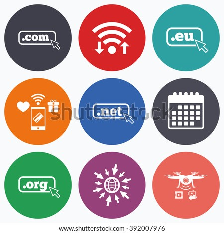 Wifi, mobile payments and drones icons. Top-level internet domain icons. Com, Eu, Net and Org symbols with cursor pointer. Unique DNS names. Calendar symbol. - stock vector