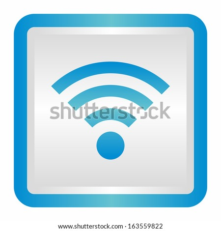 Wifi sign (elegance silver button, blue version)  - stock vector