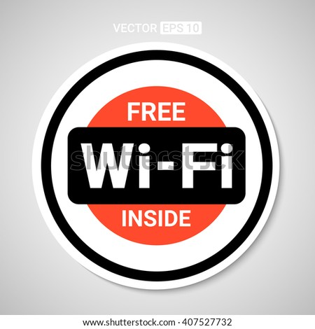 Wifi sticker for business or commercial use. Vector. - stock vector