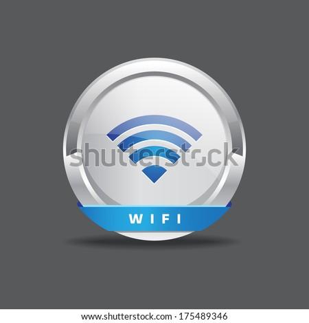 Wifi Vector Round Button - stock vector