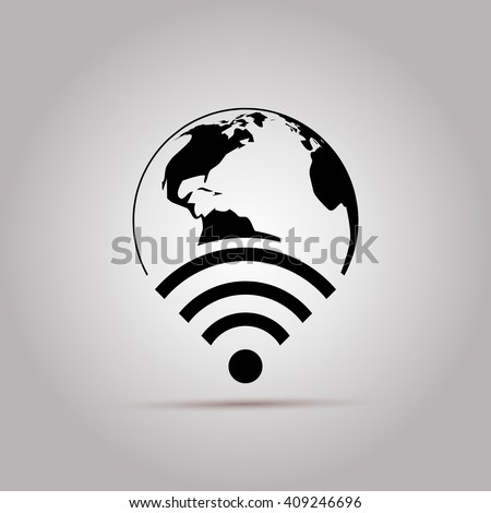 Wifi World Icon. Global Communication Icon. Wifi World Symbol. Wireless world wifi. Earth broadband symbol of worldwide internet. WIFI Icon, WIFI Icon, Wireless sign. Wifi icon app. Wifi icon flat. - stock vector