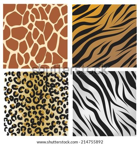 Wild African animals pattern set vector - stock vector