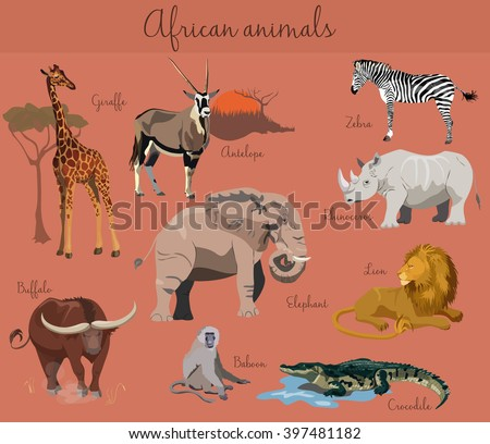 Wild african animals set with nature elements. African animals collection. - stock vector