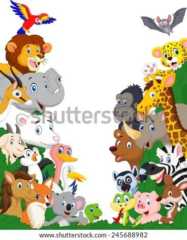 Wild animal cartoon - stock vector