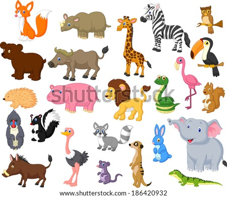 Wild animal cartoon collection - stock vector