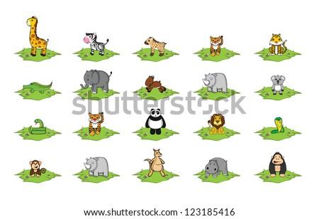 wild animal grass land set - stock vector
