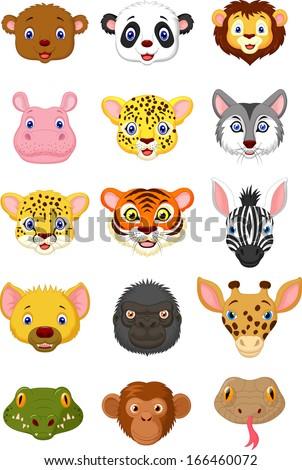 Wild animal head cartoon collection 1 - stock vector
