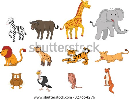 Wild animal safari illustration funny cartoon design - stock vector