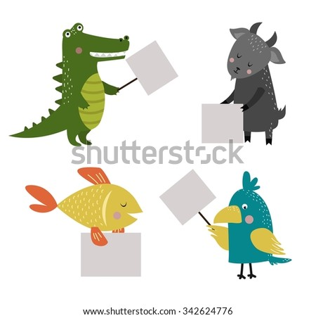 Wild animal zoo banner vector cartoon set. Wild vector animals. Jungle animals pets. Vector animals. Fish and Crocodile, parrot, goat. Sea, forest animals holding banner. Vector animals isolated - stock vector