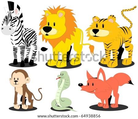 wild animals - stock vector