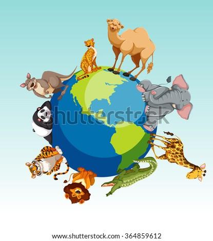 Wild animals around the earth illustration - stock vector