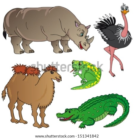 Wild animals collection 02 - vector illustration. - stock vector