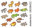 wild animals - colors - stock vector