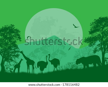 Wild animals in front a full moon on green, vector illustration - stock vector