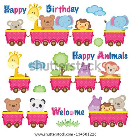 Wild animals on train - stock vector