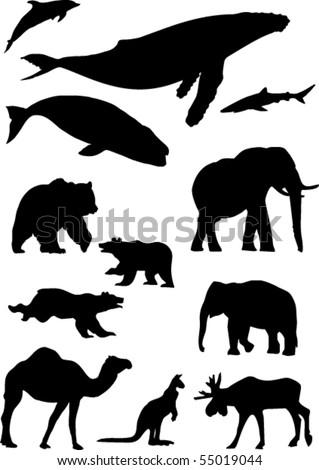 wild animals. Silhouette vector collection - stock vector