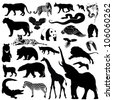 Wild animals silhouettes - vector illustrations - stock vector