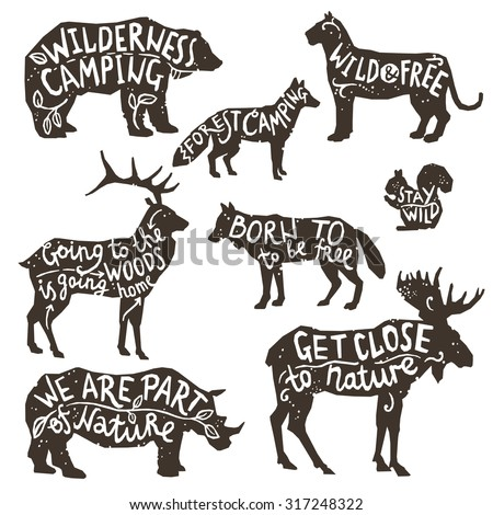 Wild animals silhouettes with lettering chalk board isolated vector illustration - stock vector