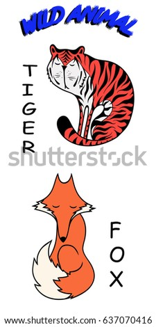 wild animals: tiger, fox