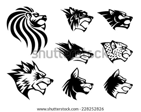 Wild Beast Symbol. 8 different wild beast head symbol.  - stock vector