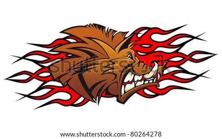 Wild boar head in cartoon as a tattoo or mascot. Jpeg version also available in gallery