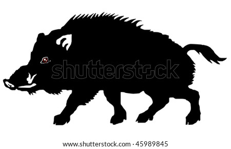 wild boar on the white background - stock vector