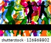 Wild colorful children jumping silhouettes abstract background illustration vector - stock vector