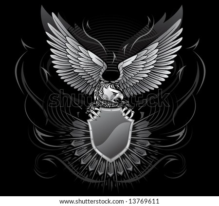 Wild Eagle Upon the Shield On Black Background - stock vector