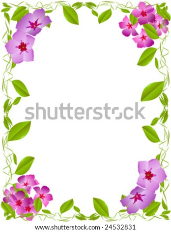 Wild flower frame with green vines - stock vector