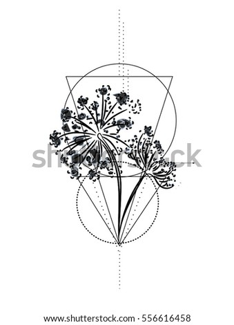 Wild Flower Geometric Tattoo Vector Hand Stock Vector