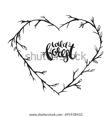 Rustic Wreath In Shape Of Heart Vector Floral Illustration Isolated On White