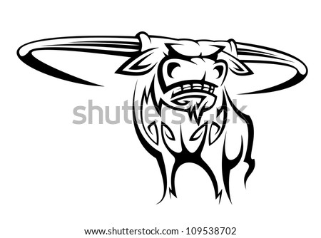 Wild horned buffalo in cartoon style for mascot design. Jpeg version also available in gallery - stock vector