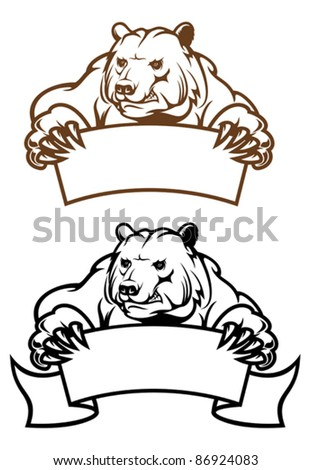 Wild kodiak bear with banner as a mascot isolated on white, such a logo. Rasterized version also available in gallery - stock vector