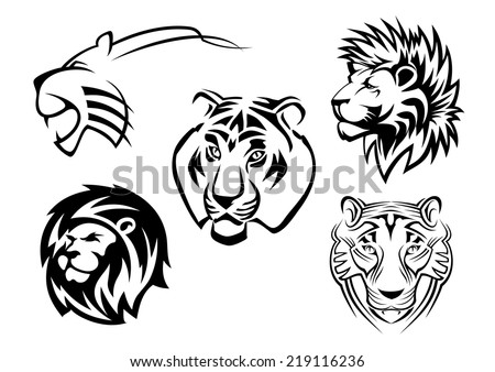 Wild lions, tigers and panthers heads for team mascot design - stock vector