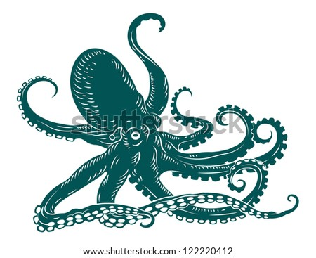 Wild ocean octopus with tentacles for sea life design. Jpeg version also available in gallery - stock vector