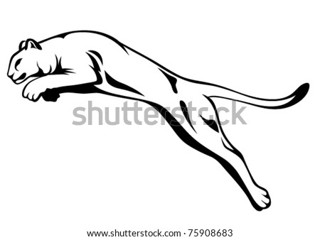 wild panther attacking - stock vector