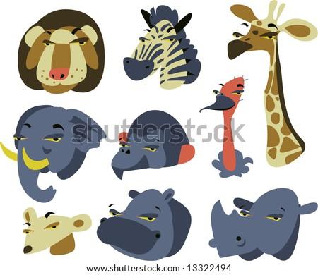 wild safari african animal set of 9: lion, zebra, giraffe, elephant, baboon, ostrich, mongoose, hippo, rhino - stock vector