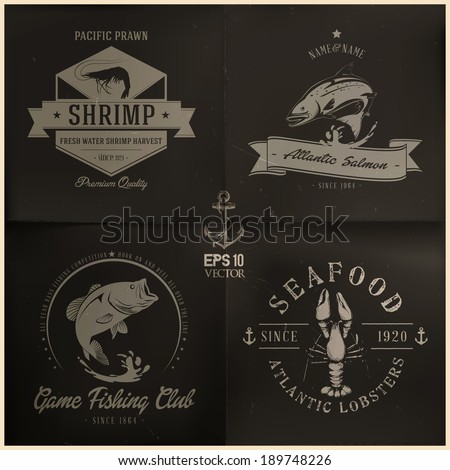 Wild Sea Water Animals badge collection | editable EPS 10 vector - stock vector