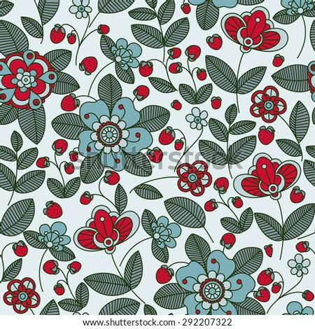 Wild strawberry bush seamless pattern background with stylized flowers and bright berries in red and blue colors, for retro wallpaper, interior or textile design - stock vector