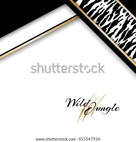 Wild tropical jungle background with tiger pattern. Vector card with copy space in material design style.
