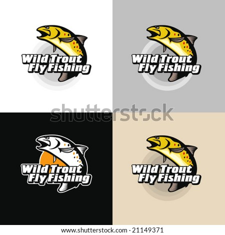Wild trout fly-fishing. Vector illustration, emblem. - stock vector