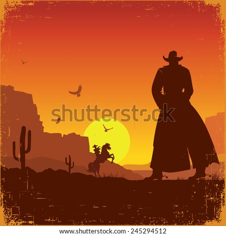 Wild West american poster.Vector western illustration with cowboys - stock vector