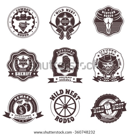 Wild West black white labels set with rodeo and sheriff symbols flat isolated vector illustration  - stock vector