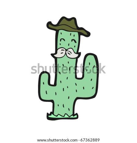 wild west cactus cartoon - stock vector