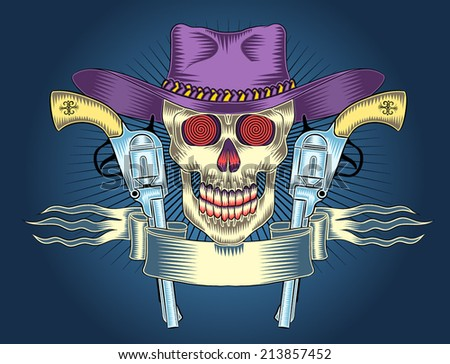 Wild west coat of arms with a skull wearing a hat with a pistol and a banner. Cowboy coat of arms. - stock vector