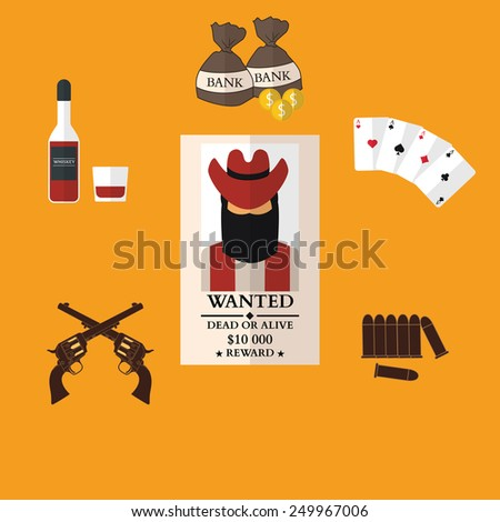 Wild west cowboy flat icons with gun money bag hat isolated vector illustration - stock vector
