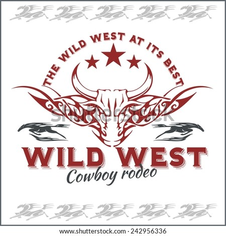 Wild west - cowboy rodeo. Vector emblem. - stock vector
