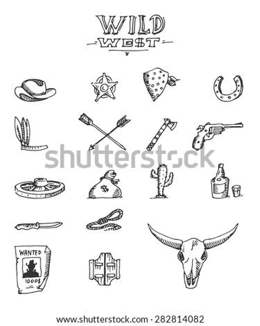 Wild west design sketch, excellent vector illustration, EPS 10 - stock vector